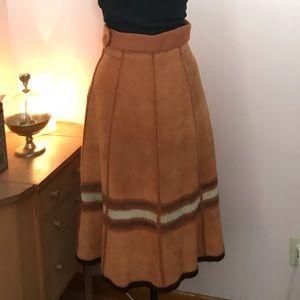 Vintage rusty brown suede midi skirt